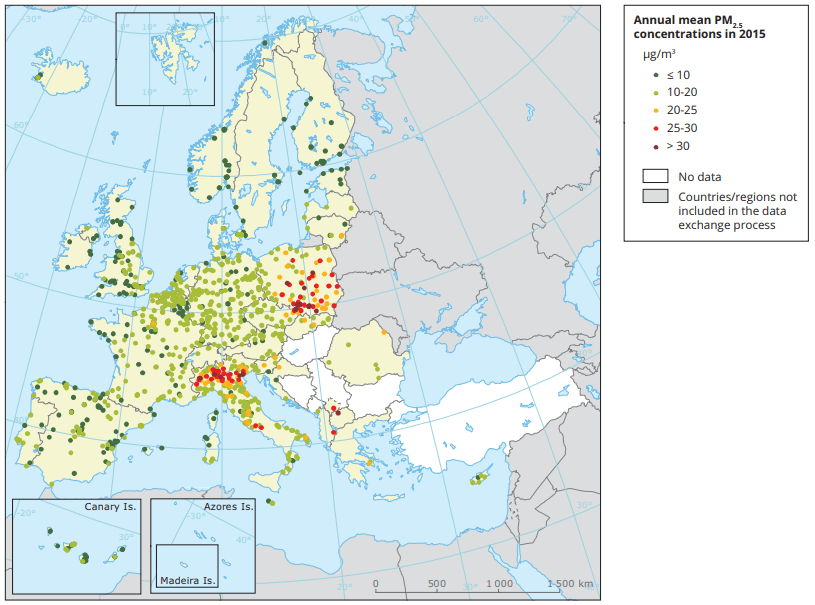 Concentrations of PM2.5 in Europe in 2015