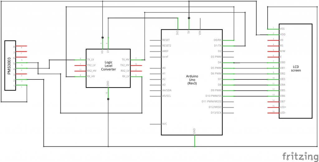 PMS3003-Arduino schema of connections