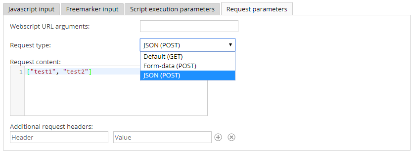 A new card with request parameter settings